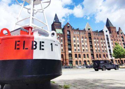 """Walking Tour Hamburg - Buoy """"Elbe 1"""" in the Speicherstadt"""