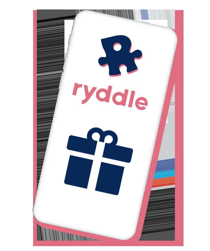 Smartphone mit ryddle als Geschenk