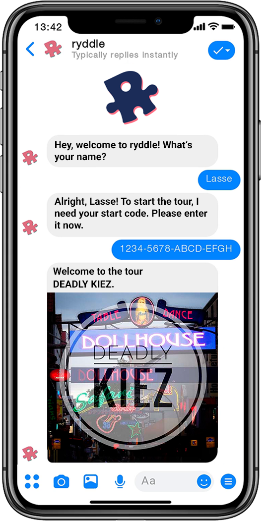 ryddle preview on a smartphone