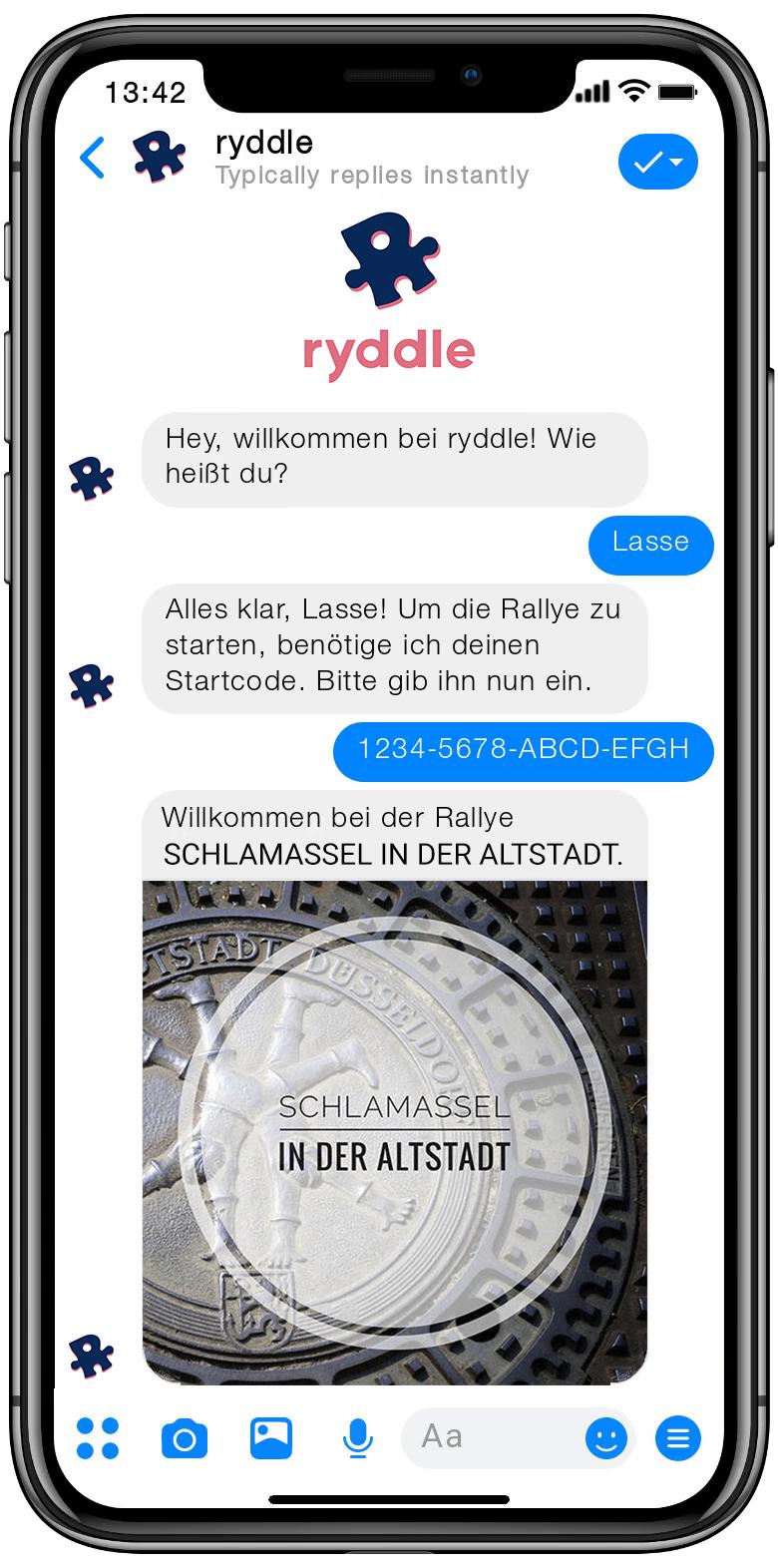 ryddle Vorschau Chat auf dem Smartphone