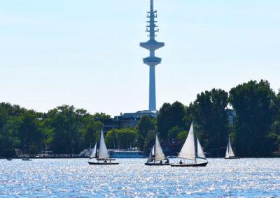 Stadtrallye Hamburg - Segelboote auf der Außenalster